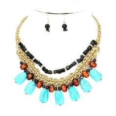 New Brown, Gold, Turquoise Semi-Precious Necklace & Earrings Set