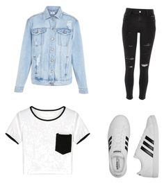 A fashion look from July 2016 featuring crop tops, denim jacket and ripped denim jeans. Browse and shop related looks. Girly Things, New Look, Korean Fashion, Fashion Looks, Cute Outfits, Adidas, Shoe Bag, Casual, Polyvore