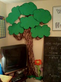 """Check out our homeschool word tree! I found the brown wrapping paper at the Dollar Tree. It happened to have colored dots on the paper making it have a more comic affect. I purchased three green poster sheets, divided them in half, hand drew large cloud-like """"leaves"""" for the base on which we'll add individual leaves with words written on them. I still need to laminate the green bases."""