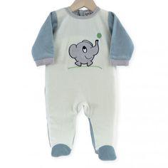 Pijama Elefantito #pijama #bebe #niño #elefantito #gris #verde #azul #kinousses