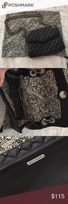 """Rebecca Minkoff Quilted Mini Affair Black Gorgeous black leather with silver hardware. Studded on the front flap. Great condition. 8"""" W x 6"""" H. Can be worn as a crossbody or over the shoulder. Magnetic flap closure. Rebecca Minkoff Bags Crossbody Bags"""