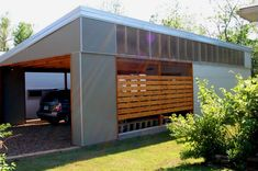 Carport Designs Carport designs A collection of 47 carport designs of varying styles and sizes A carport stands apart Carports and sheltered parking alternatives f Modern Carport, Carport Garage, Pergola Carport, Modern Garage, Garage Plans, Carport Canopy, Car Garage, Carports For Sale, Houses