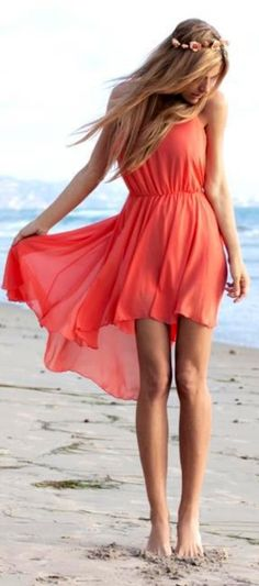 Short in front, long in back, summer dress, coral! Would look even better with a small belt!