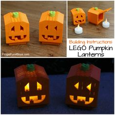 ~ Lego Mocs Holidays ~ Halloween ~ How to Build Pumpkin Lanterns with LEGO Bricks – Frugal Fun For Boys and Girls Lego Halloween, Halloween Crafts For Kids, Fall Halloween, Kids Crafts, Halloween Stuff, Halloween Party, Lego Activities, Fun Activities For Kids, Kids Fun