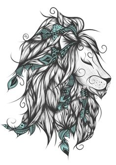 Poetic Lion Turquoise Art Print by loujah Leo Tattoos, Future Tattoos, Body Art Tattoos, Tribal Tattoos, Sleeve Tattoos, Tatoos, Lion King Tattoos, Girl Thigh Tattoos, Gypsy Tattoo Sleeve
