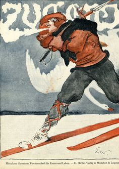 Jugend (hunting skier) by Erler, Fritz | Shop original vintage #artnouveau posters online: www.internationalposter.com