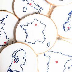 XL World Map Cross Stitch Pattern with country map outlines.
