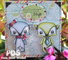 Foxy Friends Pixie Dust Studio digital stamp.  Such sweet little critters!!
