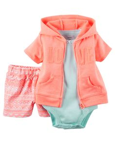 3-Piece Short-Sleeve Cardigan Set