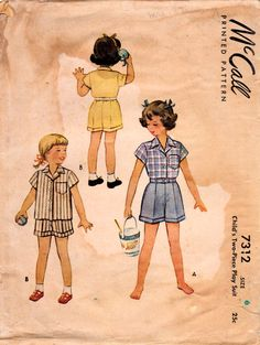 1940s McCall 7312 Vintage Sewing Pattern Girls Shorts Shirt