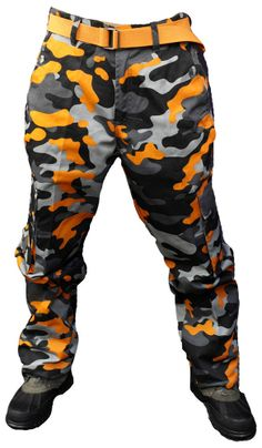 NWT MEN ACCESS (STREET/ALL PRO) ORANGE BLACK COLOR CAMO CARGO PANTS