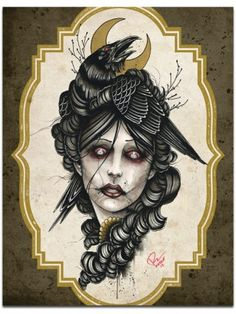 """Crow Girl"" Print by Mindzai Creative"