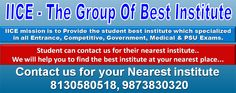 IICE - Indian Institutes of Competitive Exams serve newcomers into the game of competitive examination, and we serve every individual need at every step. We will leave no stone unturned for you, and we are willing to work with you. We will give you support for Competitive Exam, Entrance Exam, Government Exam, IIT Exam, Medical Exam, Law Exam & PSU Exams.  http://iiceinstitute.com/