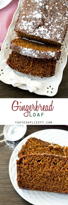 Gingerbread Loaf >> by Tastes of Lizzy T's. Soft, moist, molasses quick bread is perfectly seasoned with ginger and nutmeg. Gingerbread Loaf gives that classic holiday flavor that you love!