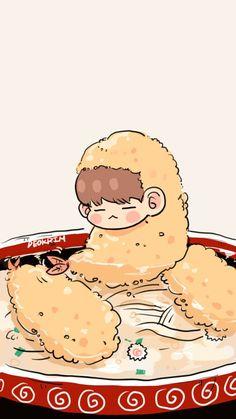 Suga Swag, Bts Suga, Bts Chibi, Cartoon Wallpaper, Bts Wallpaper, Chibi Food, Exo Fan Art, Cartoon Fan, Bts Drawings