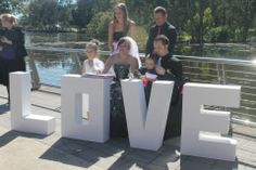Our giant love letters used as a signing table at rosser park