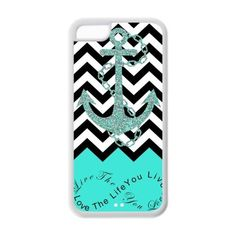 iPhone 5C Case - Turquoise Infinity Chevron with Anchor Live the Life You Love, Love the Life You Live