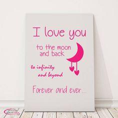Tekst op canvas I love you to the moon and back - tekstopcanvas Mooie muurdecoratie door de baby- of kinderkamer