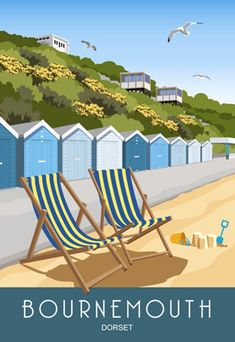 Bournemouth Beach Lift and Beach Huts in a modern taking its style from old railway posters Rochester Castle, Bournemouth Beach, Interior Design Masters, Best Holiday Destinations, Railway Posters, England, Portrait Pictures, Travel Illustration, Seaside Towns