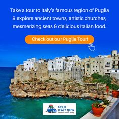 Take a tour to Italy's famous region of Puglia & explore ancient towns, artistic churches, mesmerizing seas & delicious Italian food. Check out our Puglia Tour! Italy Tour Packages, Italy Vacation Packages, Italy Tours, Seas, Italy Travel, Italian Recipes, Explore, Check, Food