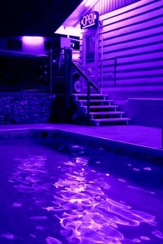 I love how the neon sign and every light has its own ripple in the pool and every color is distinguished in the blue water. Violet Aesthetic, Aesthetic Colors, Neon Licht, Neon Noir, My Pool, Purple Rain, Neon Purple, Magenta, All Things Purple