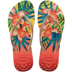 Havaianas Slim Tropical Flip Flop Sandal ($36) ❤ liked on Polyvore featuring shoes, sandals, flip flops, havaianas, slim shoes, havaianas shoes, slim flip flops and havaianas sandals