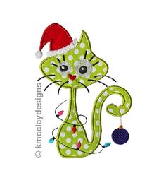 Whimsical Santa Cat with lights and santa hat. by KmcclayApplique