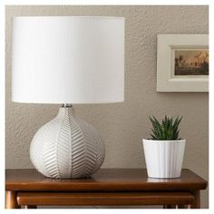 Herringbone Ceramic Table Lamp - Gray - Threshold™ : Target