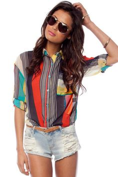 Casual Summer Rave: Mixing Stripes Blouse in Red Orange