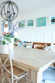 20 ways to add interest with the wall panel - Breakfast Room Redo Dining Room Paneling, Master Bedroom Plans, Beadboard Wainscoting, Long Walls, Decorative Wall Panels, Blue Home Decor, Reno, Wall Treatments, Home Staging