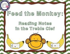 Feed the monkeys the banana showing the note in the treble clef staff to satisfy their hunger. Tons of note-reading fun and also great for assessment. Comes with 5 different activities including an interactive PDF.