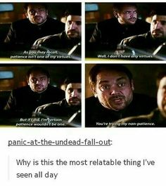 Crowley: you're trying my not-patience. Iconic.