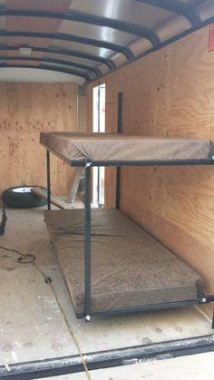 Enclosed Cargo Trailer Camper Conversion Fold Out Bed Kit Cargo Trailer Camper Conversion, Cargo Trailers, Camper Trailers, Bus Camper, Bus Conversion, Travel Trailers, Fold Out Beds, Folding Beds, Hunting Trailer