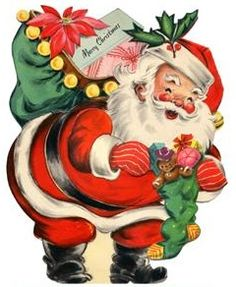 Santa Claus vintage Christmas card Z Vintage Christmas Images, Old Christmas, Hallmark Christmas, Old Fashioned Christmas, Retro Christmas, Vintage Holiday, Christmas Pictures, Christmas Crafts, Google Christmas