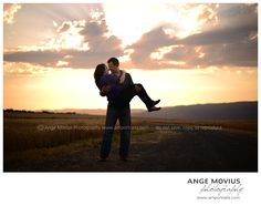 Engagement portrait session by Ange Movius Photography. Rustic, sunset, wheat fields, wedding photography. www.amportraits.com