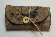 Primitive Cross Stitch Peacock Button Roll design by Stacy Nash Primitives