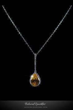 CITRINE PEAR SHAPE HALO DANGLE PENDANT NECKLACE >> BY BELOVED SPARKLES | FAHSION AND WEDDING JEWELRIES » Beloved Sparkles | Bridal Wedding Hair Accessories | Cubic Zirconia Jewelry