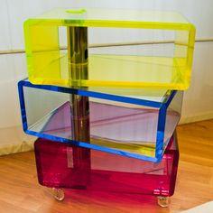 Lucite Acrylic cart in three colors - CARRELLO VIVANDE IN PLEXIGLAS IN TRE COLORI FLUORESCENTI