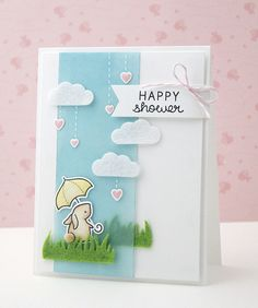 Lawn Fawn - Hello Baby + coordinating dies, Grassy Border _ Happy Shower card by… Baby Shower Cards, Baby Cards, Lawn Fawn Stamps, Shower Bebe, Paper Smooches, Partys, Tampons, Card Making Inspiration, Card Tags