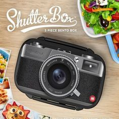 Retro Portable Camera/Game/Tape Recorder Pattern Sealed Microwave Bento Lunch Box Food Container Lunchbox with Spoon and Fork 4D