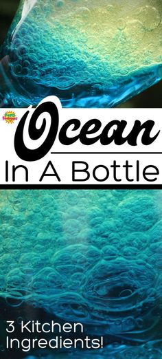 Make a mesmerizing ocean in a bottle with 3 kitchen ingredients Great calm down bottle or sensory bottle Tip the bottle end to end to create undulating waves and bubbles It s fascinating to watch HappyHooligans Kids Crafts - Fun Crafts For Kids, Craft Activities For Kids, Summer Crafts, Toddler Crafts, Summer Activities, Children Crafts, Outside Kid Activities, Childrens Crafts Preschool, Cool Crafts