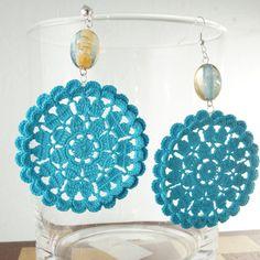 Turquoise Crochet Earrings  Bizarre Flowers by BizarreAccessories,