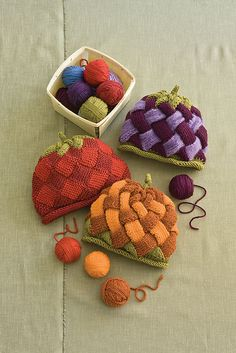 Fruit and Veggie Caps pattern by Rosemary Drysdale #knit #entrelac