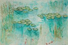 Lily pads and beaches paintings by North Vancouver Artist Sandrine Pelissier