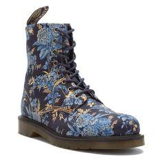 Dr Martens Beckett 8-Eye Canvas Boot Blue Wild Rose Women US 9/ UK 67 EU 41