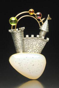 "Yumi Ueno Art Jewelry & Metal : Jewelry Gallery : Brooch. "" Rainbow castle"" Drusy agate, Citrine, Peridot, Garnet, 22,14KG, S.S."