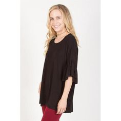 Ruffle Sleeve Top - Black - S - Clothes