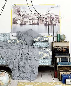 Anthropologie bedroom. How to create a stacked vintage suitcase bedside table.