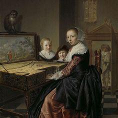 Woman playing the virginal, Jan Miense Molenaer, 1630 - 1640 - Rijksmuseum Johannes Vermeer, Baroque Art, Dutch Golden Age, Dutch Painters, Dutch Artists, Art Database, Historical Costume, Beautiful Paintings, Figure Painting
