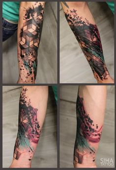 Geometry Watercolors Graphic Style Tattoo by Tayri Rodriguez at Siha Tattoo